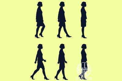 SIL-WalkingCycleBizWoman